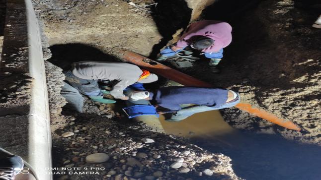 للا ميمونة.. ثقب في القناة الرئيسية المزوِدة للماء الصالح للشرب لكافة أحياء المركز